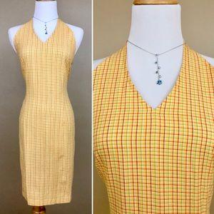 🆕 Vintage 90s Yellow Checker Print Halter Dress